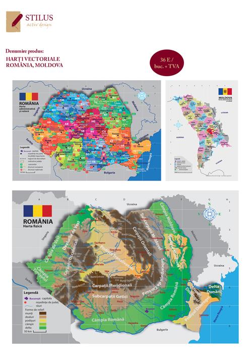 Harti Vectoriale Romania Moldova Continente