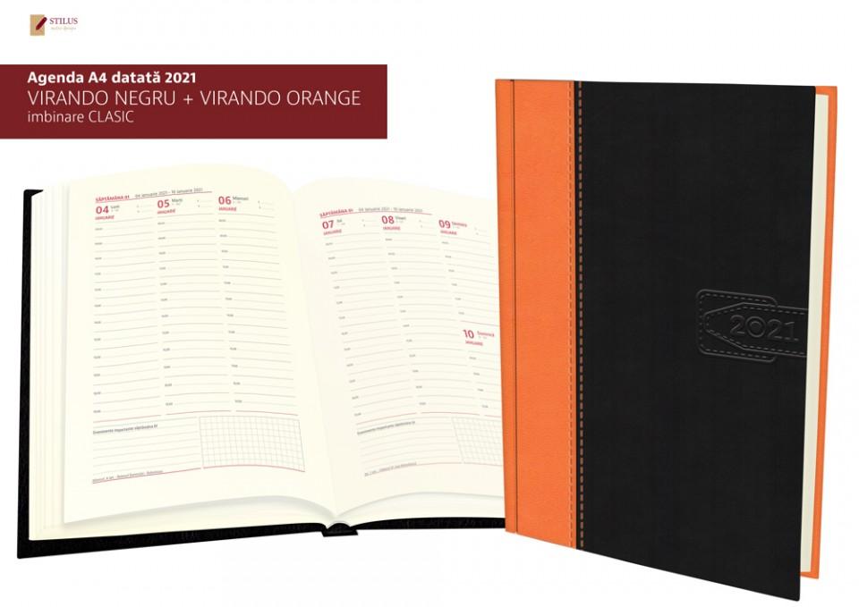 Galerie foto Agenda A4 datata 2021 coperta negru cu portocaliu