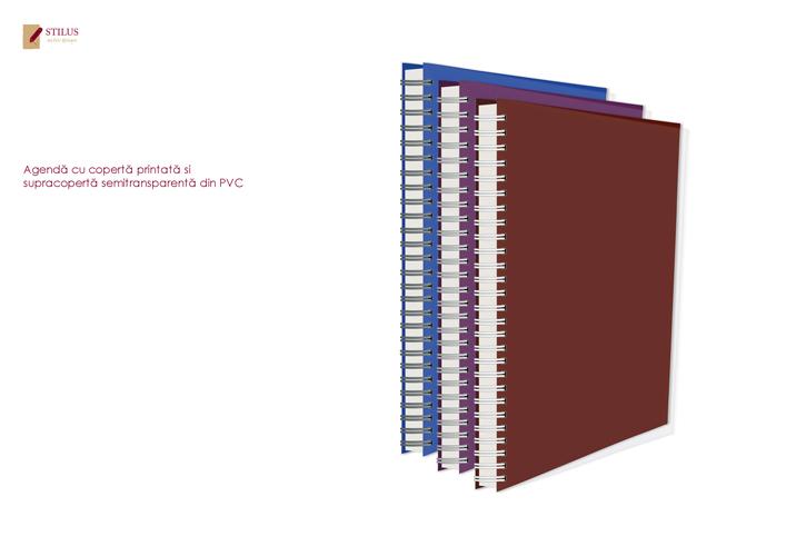Galerie foto Agenda 2021 cu coperta visinie si cupracoperta semitransparenta din PVC