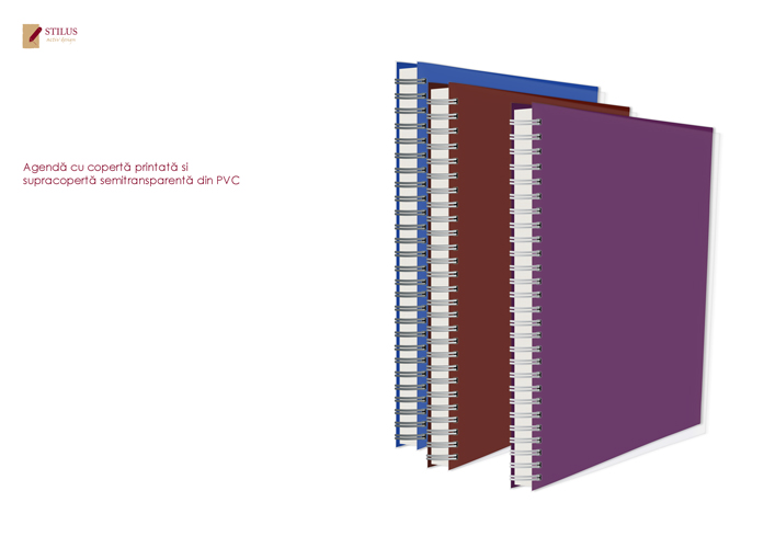 Galerie foto Agenda 2021 cu coperta mov si cupracoperta semitransparenta din PVC