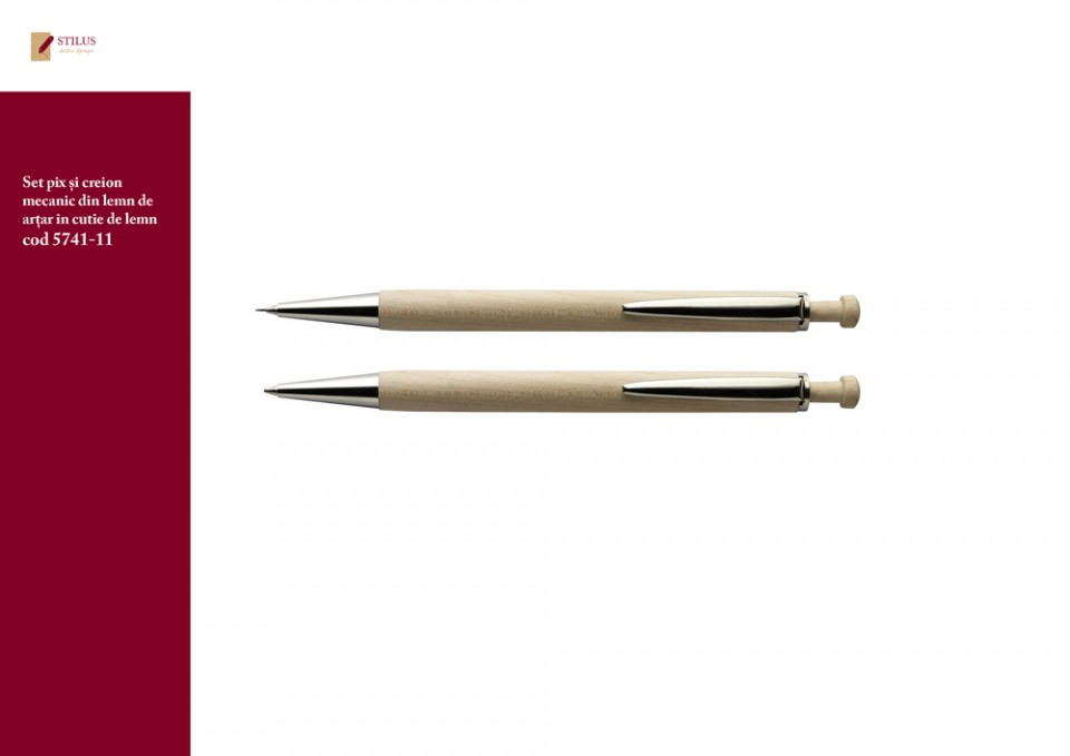 Galerie foto Set pix si creion mecanic din lemn