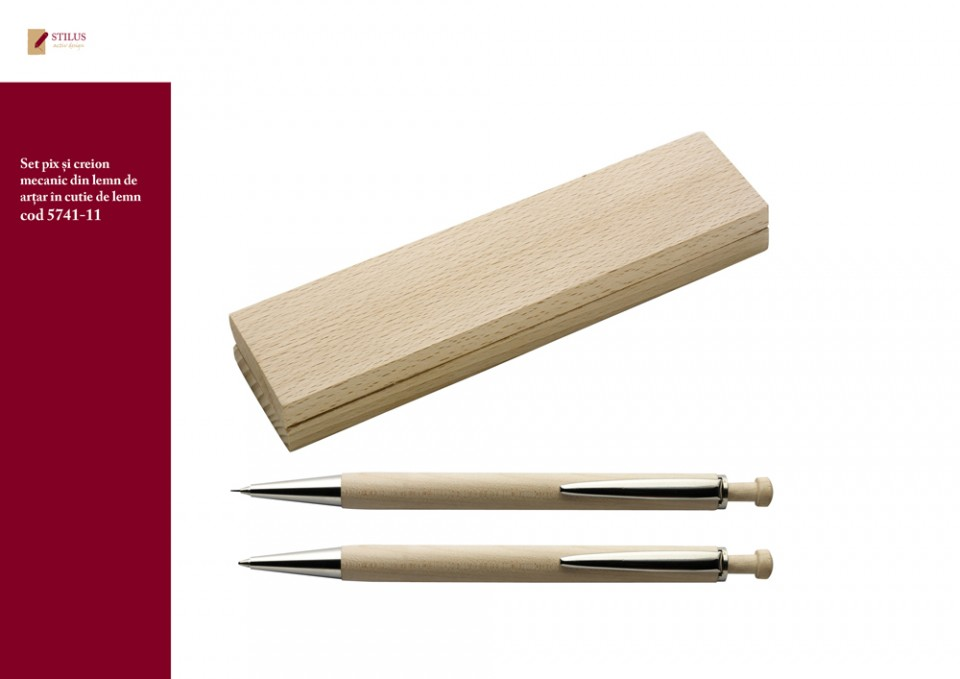 Galerie foto Set pix si creion din lemn de artar