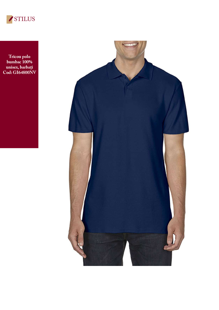 Galerie foto Tricou polo 100% bumbac blue navy