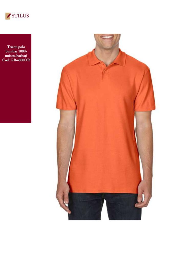 Galerie foto Tricou polo unisex barbati portocaliu