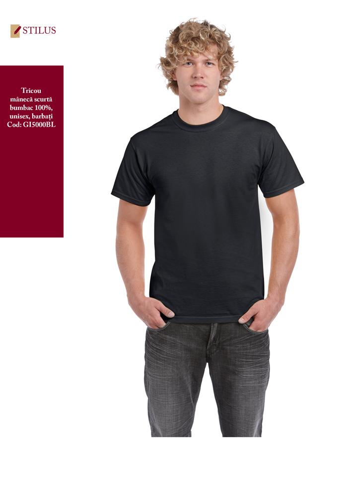 Galerie foto Tricou cu maneca scurta si gat rotund negru