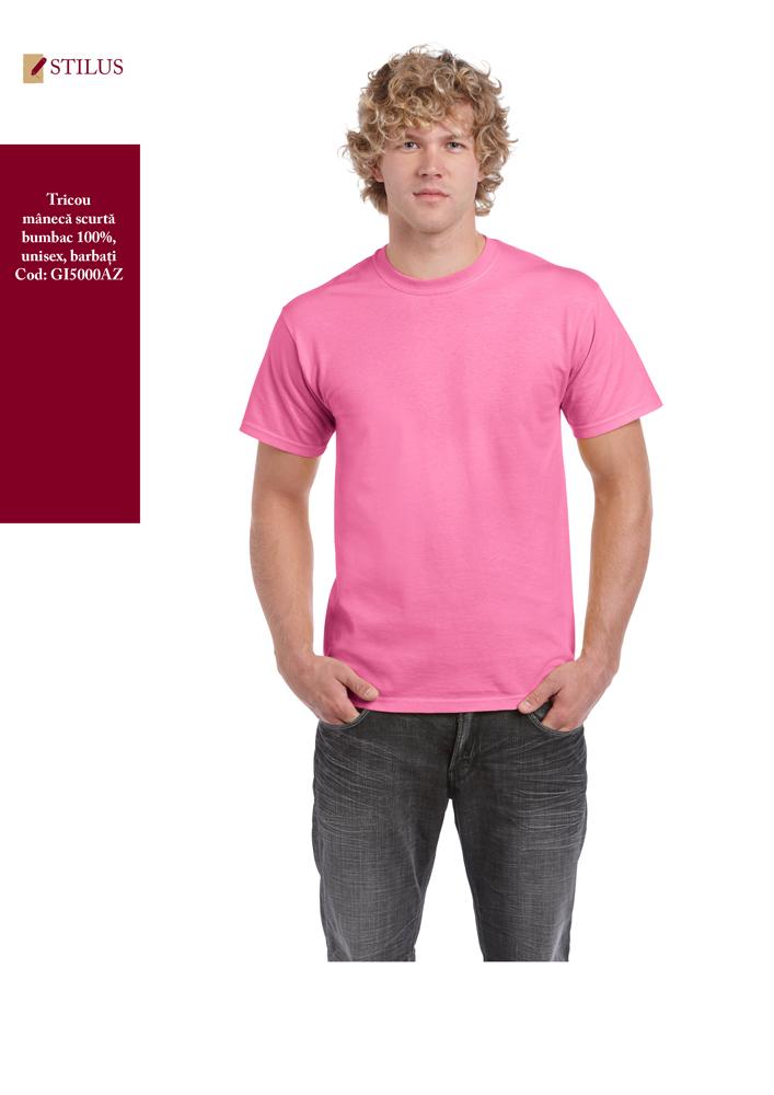 Galerie foto Tricou clasic roz cu maneca scurta