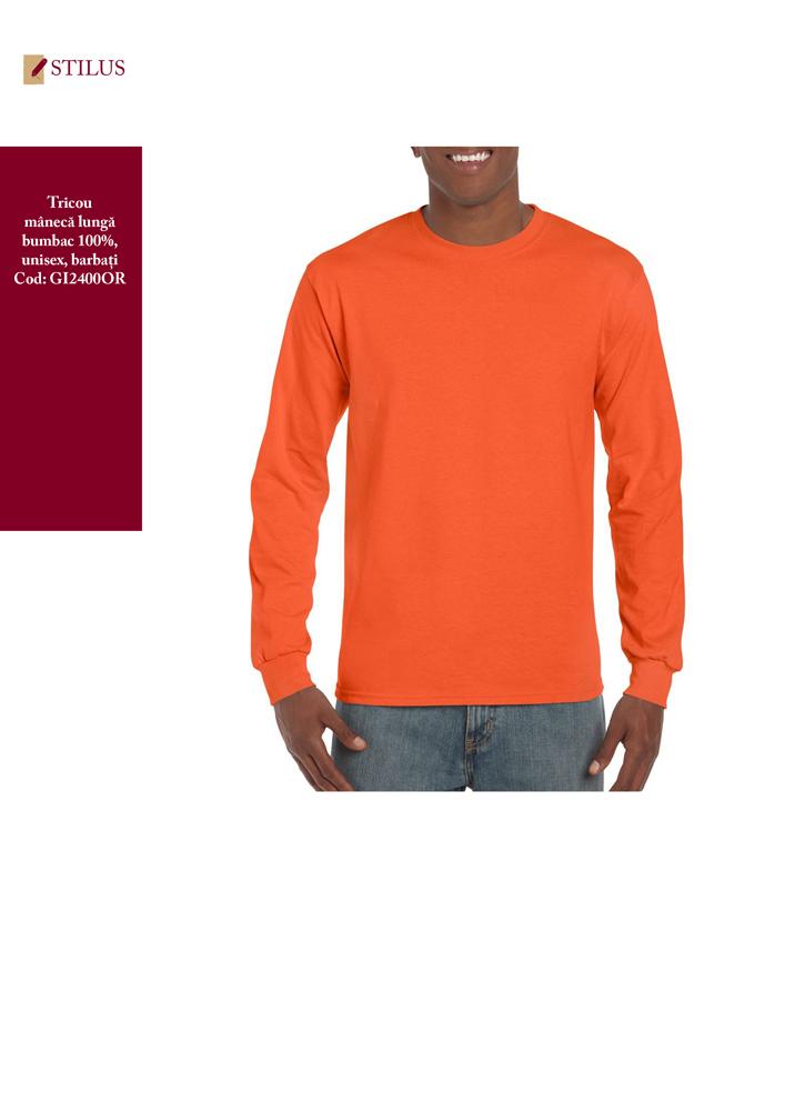 Galerie foto Tricou portocaliu cu maneca lunga bumbac