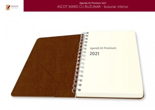 Agenda A5 Premium 2021 maro cu buzunar