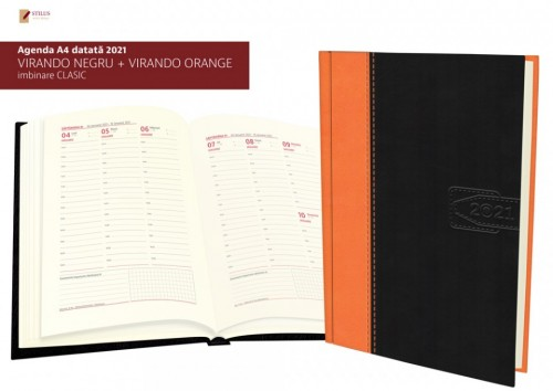 Agenda A4 datata 2021 coperta negru cu portocaliu