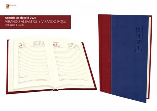 Agenda A5 datata 2021 coperta albastru cu rosu