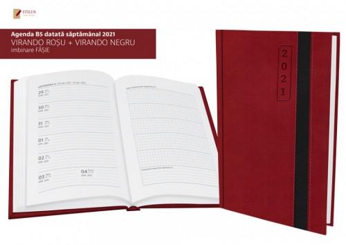 Agenda 17 x 24 datata 2021 coperta bicolora rosu cu negru