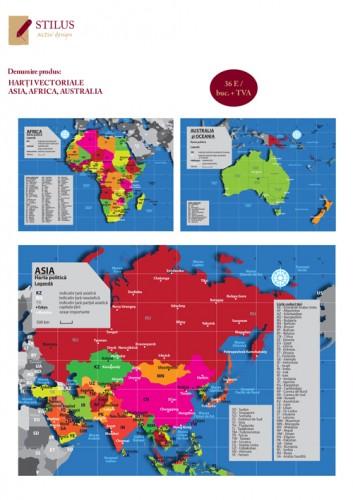 Harti vectoriale Asia, Africa, Australia