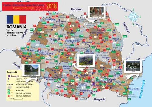Harta Romaniei personalizata tiparita