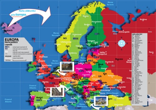Harta personalizata tiparita Calatorii prin Europa