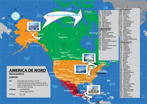 Harta personalizata tiparita Calatorii prin America