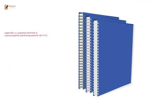 Agenda 2021 cu coperta albastra si cupracoperta semitransparenta din PVC