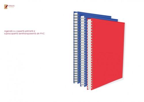 Agenda 2021 cu coperta rosie si cupracoperta semitransparenta din PVC