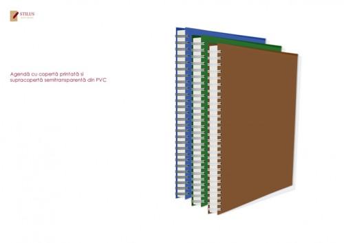 Agenda 2021 cu coperta maro si cupracoperta semitransparenta din PVC