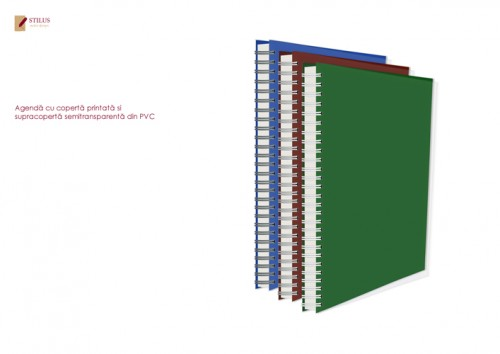 Agenda 2021 cu coperta verde si cupracoperta semitransparenta din PVC