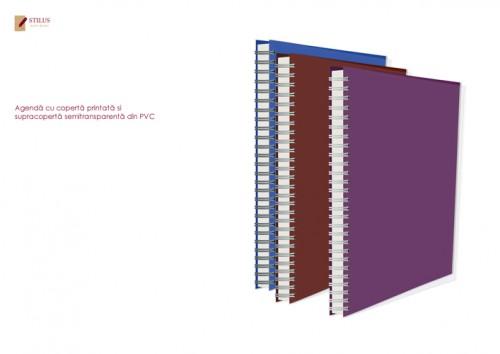 Agenda 2021 cu coperta mov si cupracoperta semitransparenta din PVC