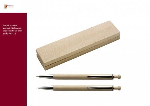 Set pix si creion din lemn de artar