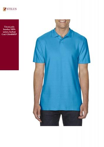 Tricou polo bleu safir 100% cotton