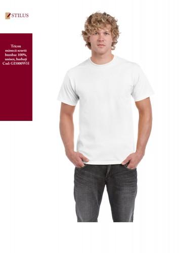 Tricou alb cu maneca scurta si gat rotund 100% bumbac