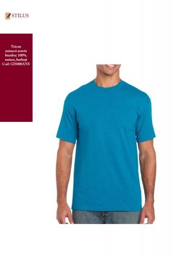 Tricou cu gat rotund albastru safir