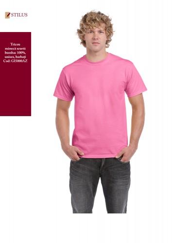 Tricou clasic roz cu maneca scurta