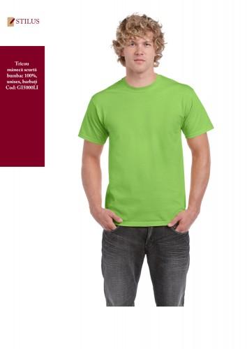 Tricou cu gat rotund verde lime
