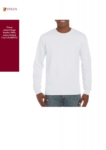 Tricou alb cu maneca lunga gat rotund
