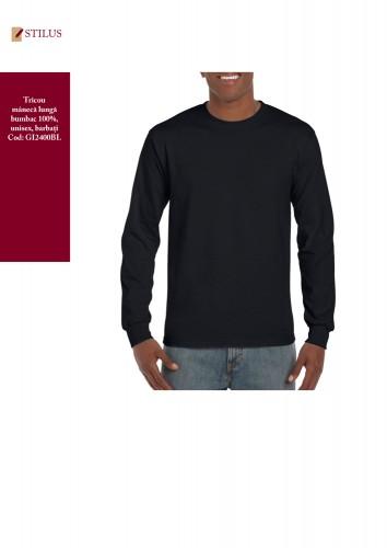 Tricou negru cu maneca lunga bumbac 100%