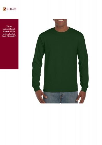 Tricou verde bumbac maneca lunga
