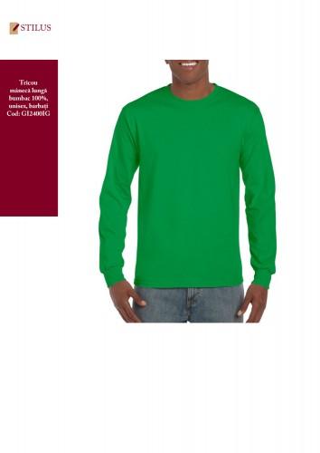 Tricou cu maneca lunga bumbac verde irish