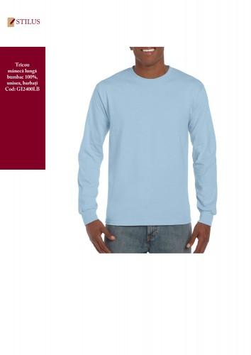 Tricou cotton maneca lunga light blue