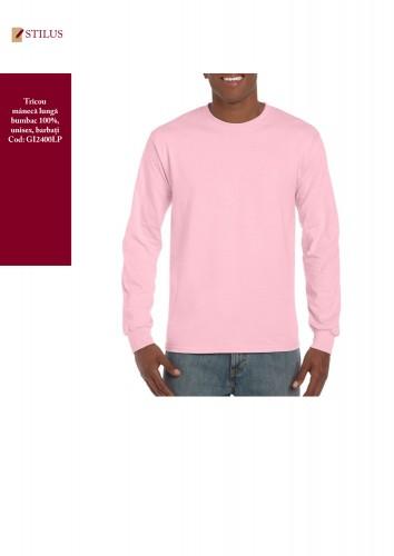 Tricou roz unisex maneca lunga