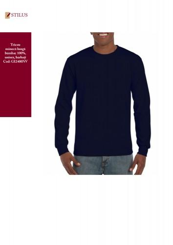 Tricou bumbac maneca lunga blue navy