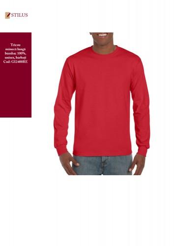 Tricou rosu bumbac 100% maneca lunga
