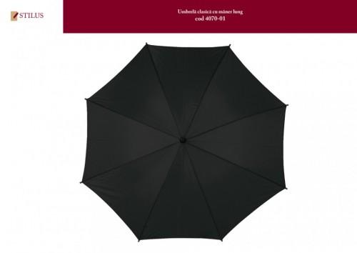 Umbrela clasica neagra cu maner lung