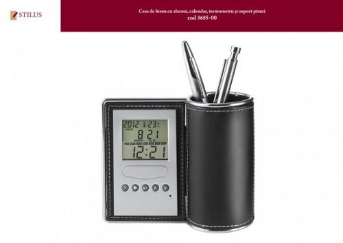 Ceas de birou cu suport pixuri personalizat