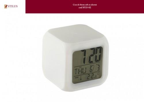 Ceas de birou cub cu alarma si termometru
